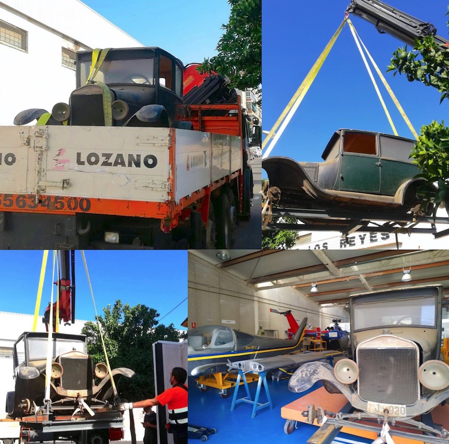traslado del Ford T con los medios de elevación de grúas Lozano